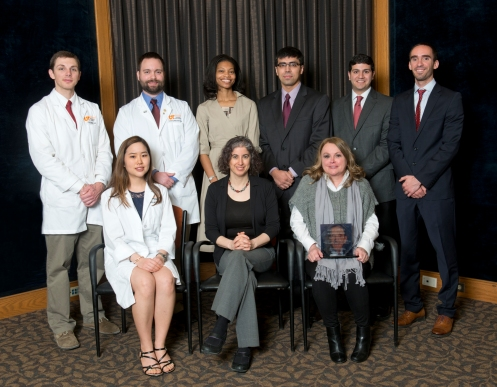 Pictured at the 2015 UTCOMC Alper Humanitarian Award ceremony at Erlanger Friday are front row, Dr. Apphia Wang; keynote speaker Dr. Danielle Orfi with Bellevue Hospital, and, holding the 2015 Alper Humanitarian Award, the mother of Natalie Johnson, who accepted her in daughter's absence.   Pictured on the back row are Drs. Chad Ward, Josh Worthington, Shavonda Thomas, Rehan Kahloon, Nikkil Annand and Kevin Crawford.